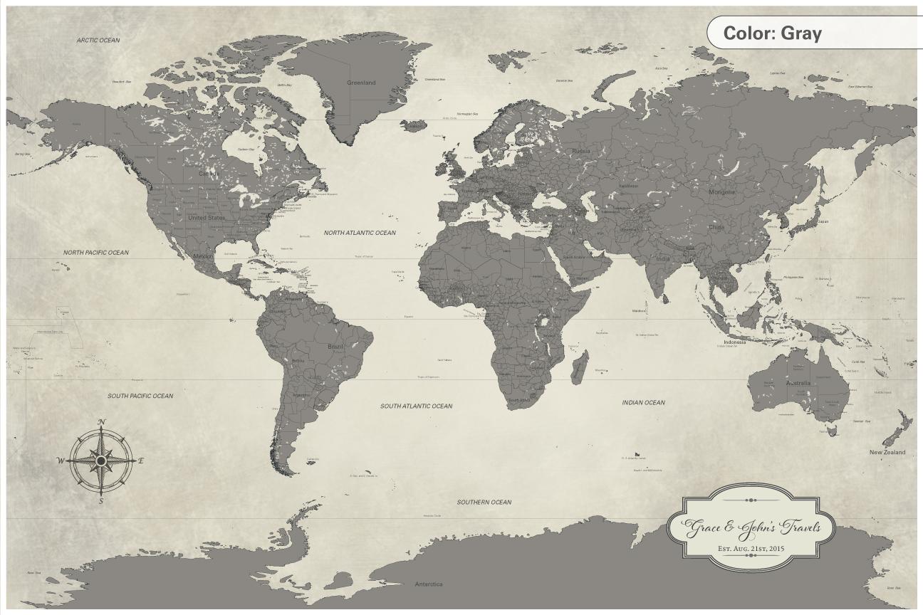 2nd anniversary gift, cotton push pin world map