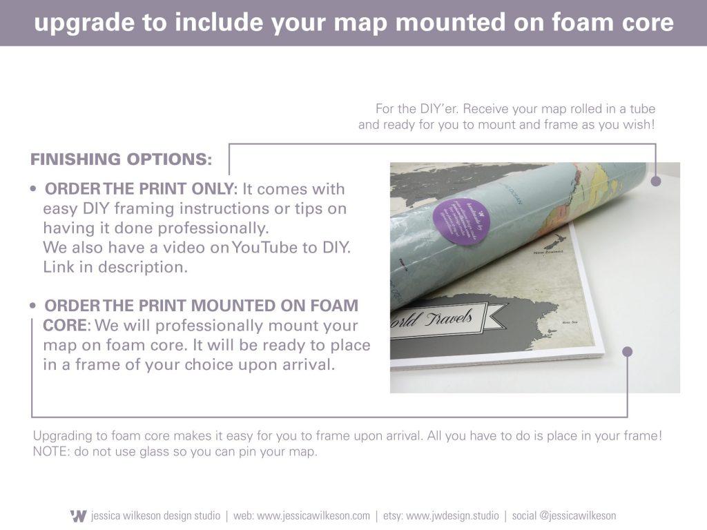 add on foam core to push pin world map