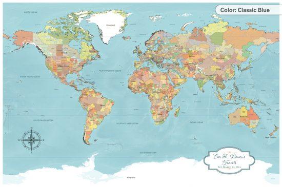 Classic Blue World Map, personalized push pin world map