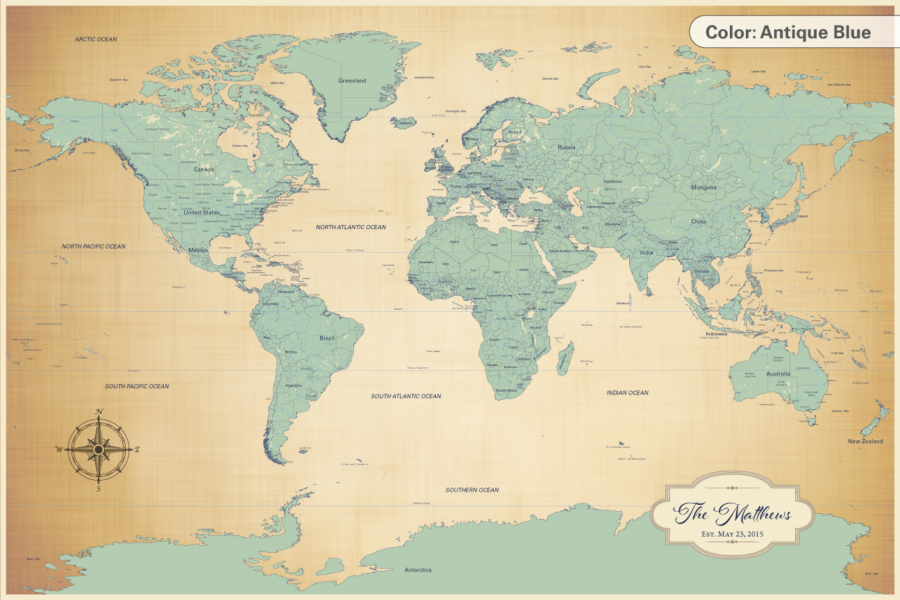 cotton anniversary push pin world map antique blue