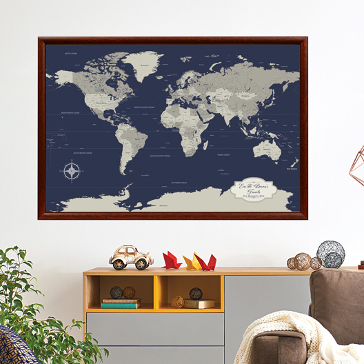 navy world map for living room wall