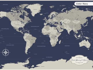 travel map personalized navy color
