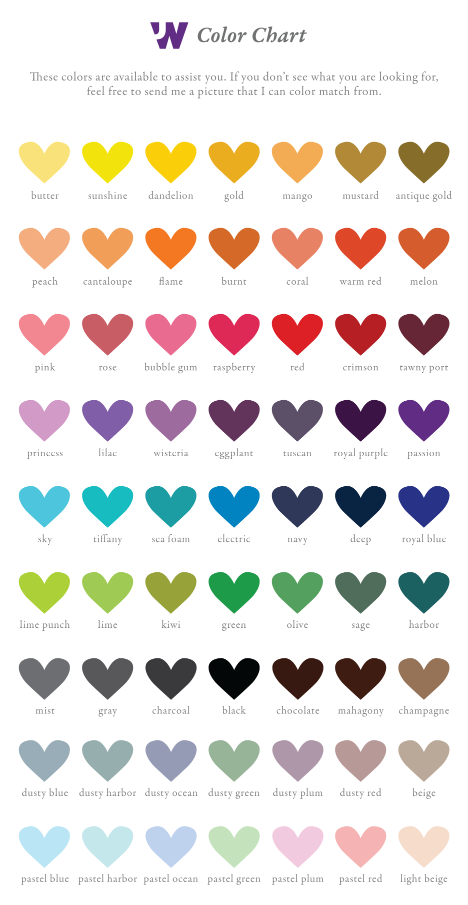 Jessica Wilkeson Design Studio Color Chart