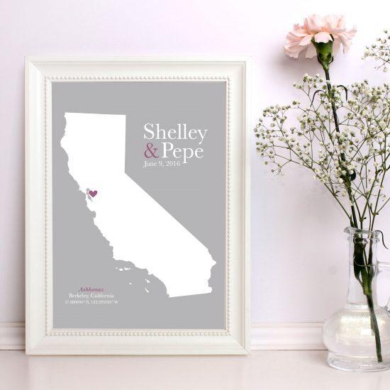 cotton anniversary gift, keepsake map