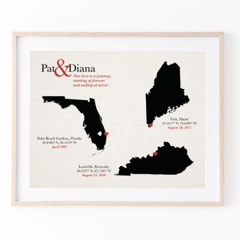 cotton anniversary gift love story map