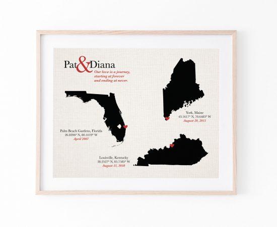 cotton anniversary gift love story map