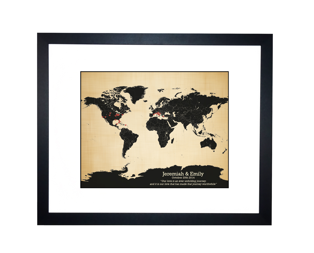 World map personalized family travels map anniversary gift idea world map personalized gumiabroncs Images