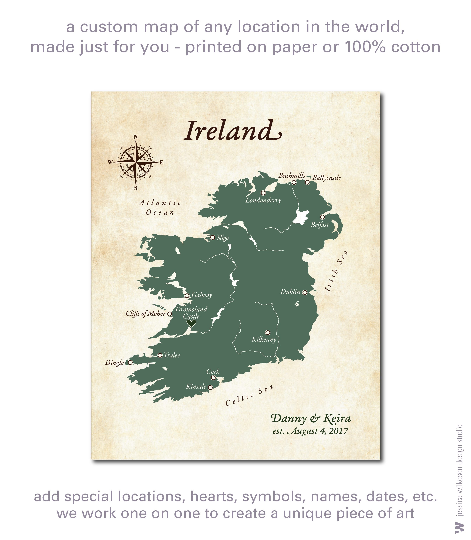 Custom map of Ireland printed on cotton canvas