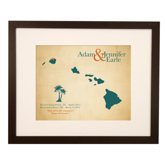 Wedding Gift Hawaii Honeymoon : gifts city maps custom maps push pin travel maps engraved gifts ...