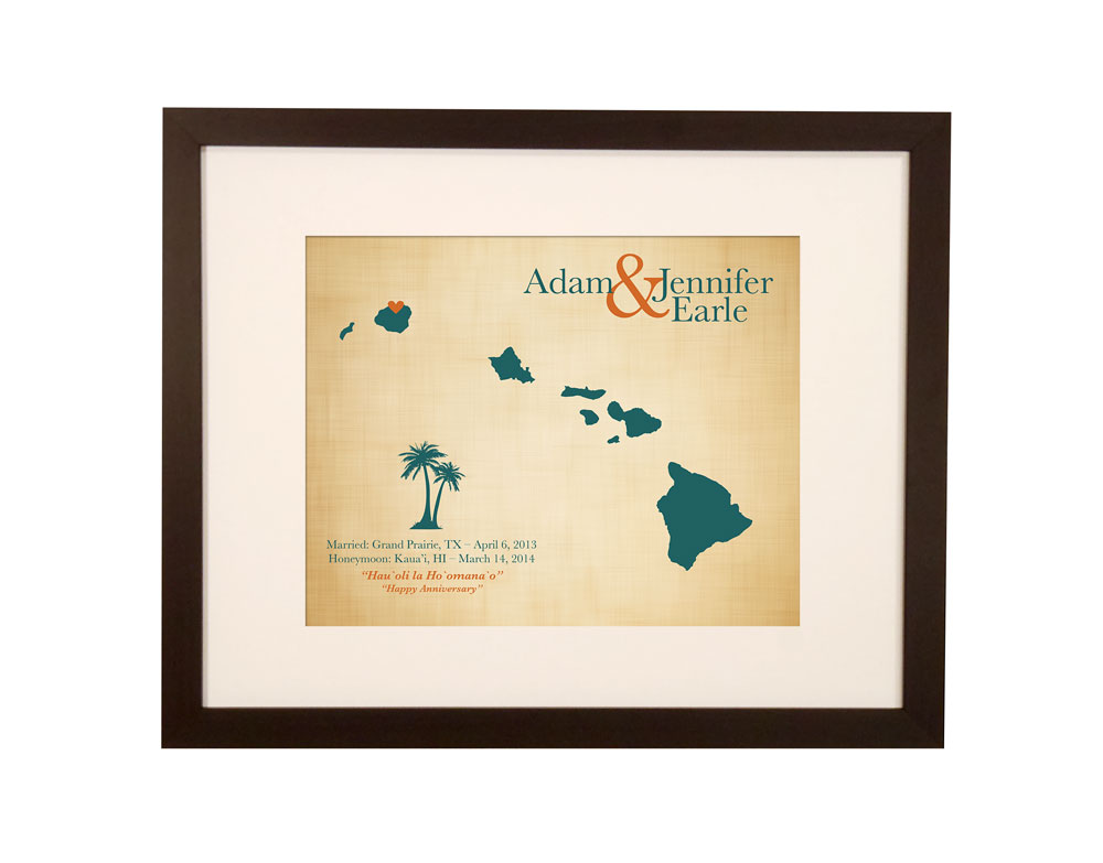 Traditional Hawaiian Wedding Gifts: Cotton Anniversary Keepsake Map