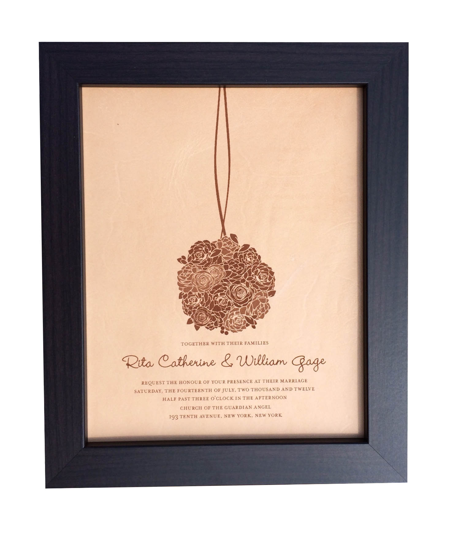 9th Wedding Anniversary Gift Leather: Leather Photo Engraved Wedding Invitation