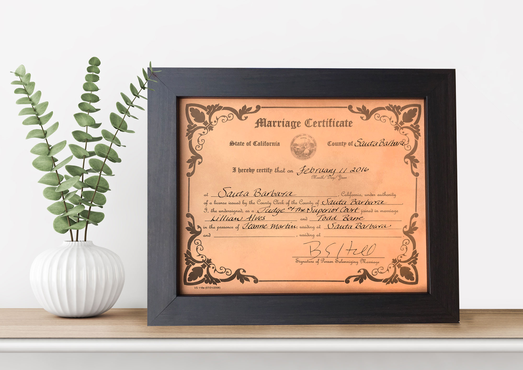 leather anniversary gift wedding certificate engraved on leather