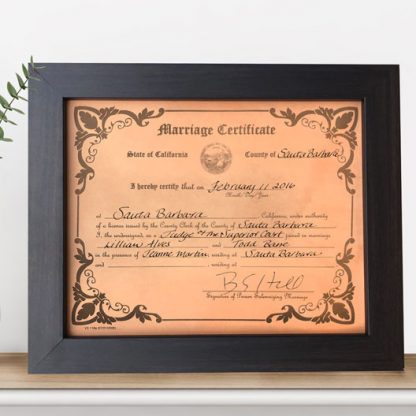 leather engraved wedding certificate