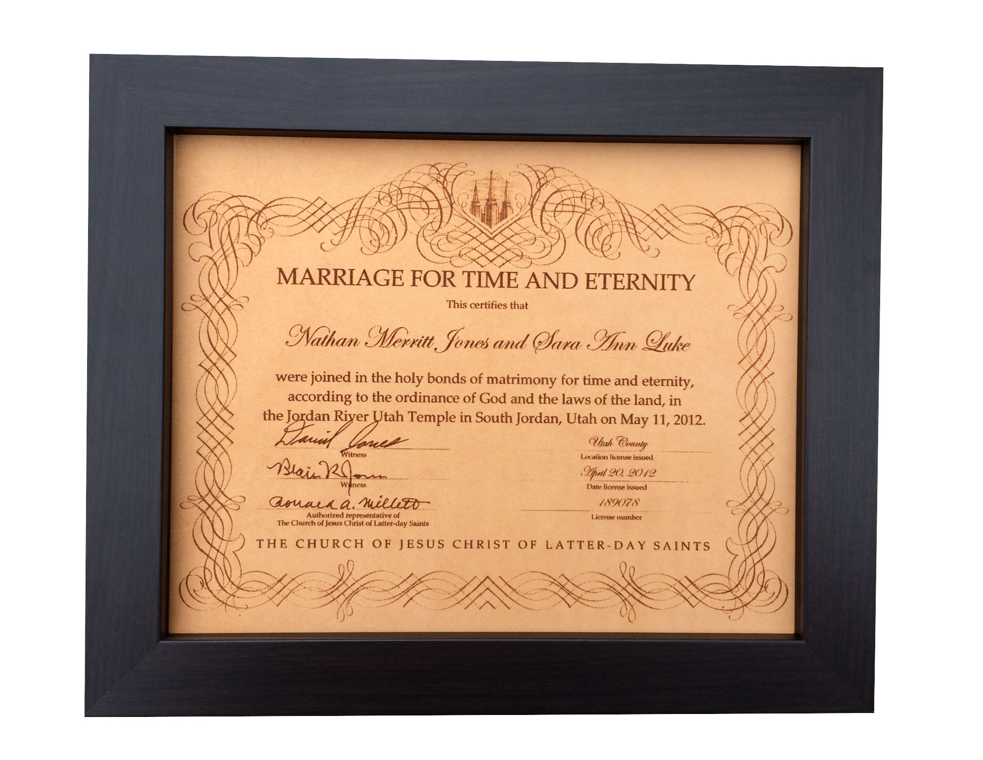 Leather Marriage Certificate Photo Engraving Leather Anniversary
