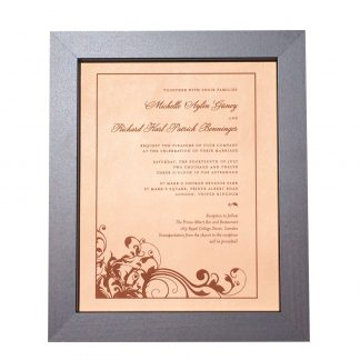 7047a6ee42c Leather photo engraved wedding invitation – 9th anniversary gift idea