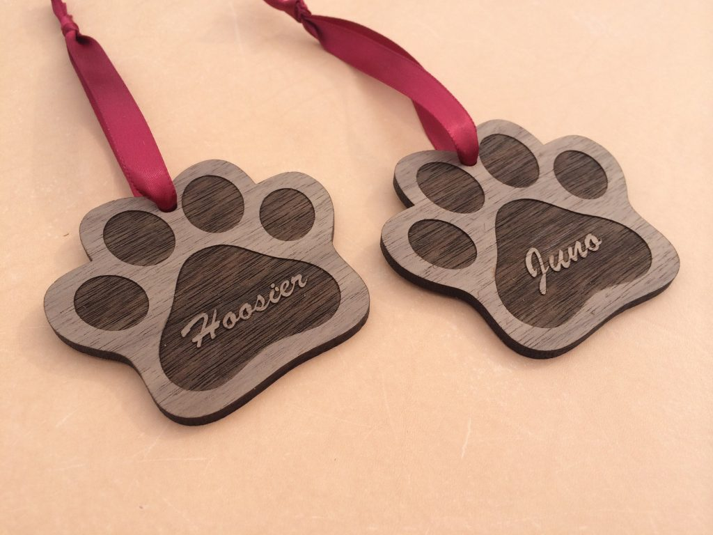 Paw Print Personalized Holiday Ornament - Laser Engraved ...