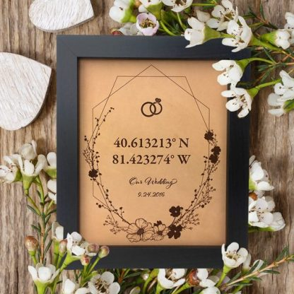 our wedding gps sign with floral elements