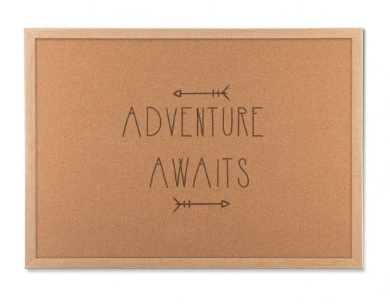 adventure awaits cork board