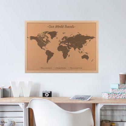 wood anniversary gift, world map on cork