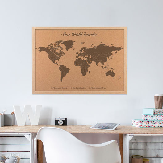 wood anniversary gift, world map on cork