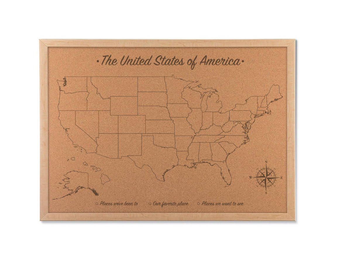 Cork Map Of The United States Cork Board Map With Map Pins - Us-pin-map