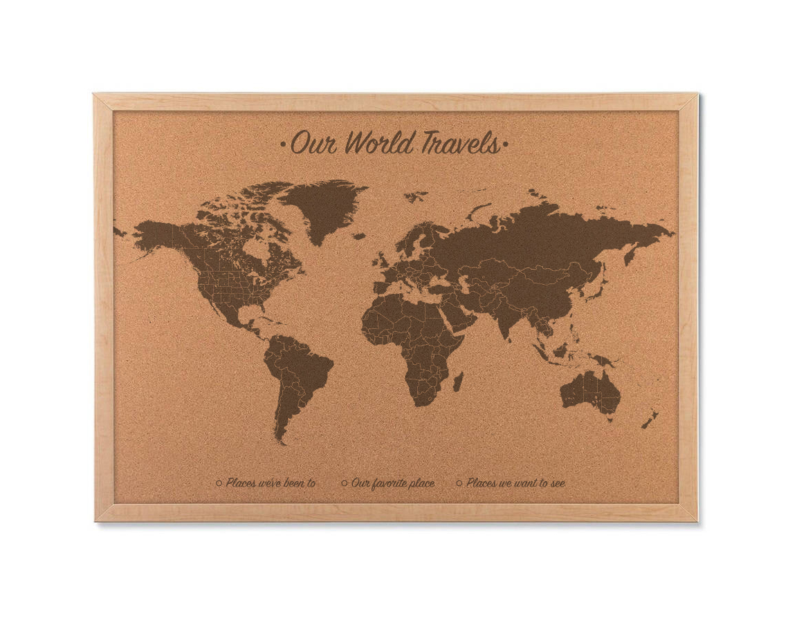 Cork board world map includes 100 map pins Push Pin World Map