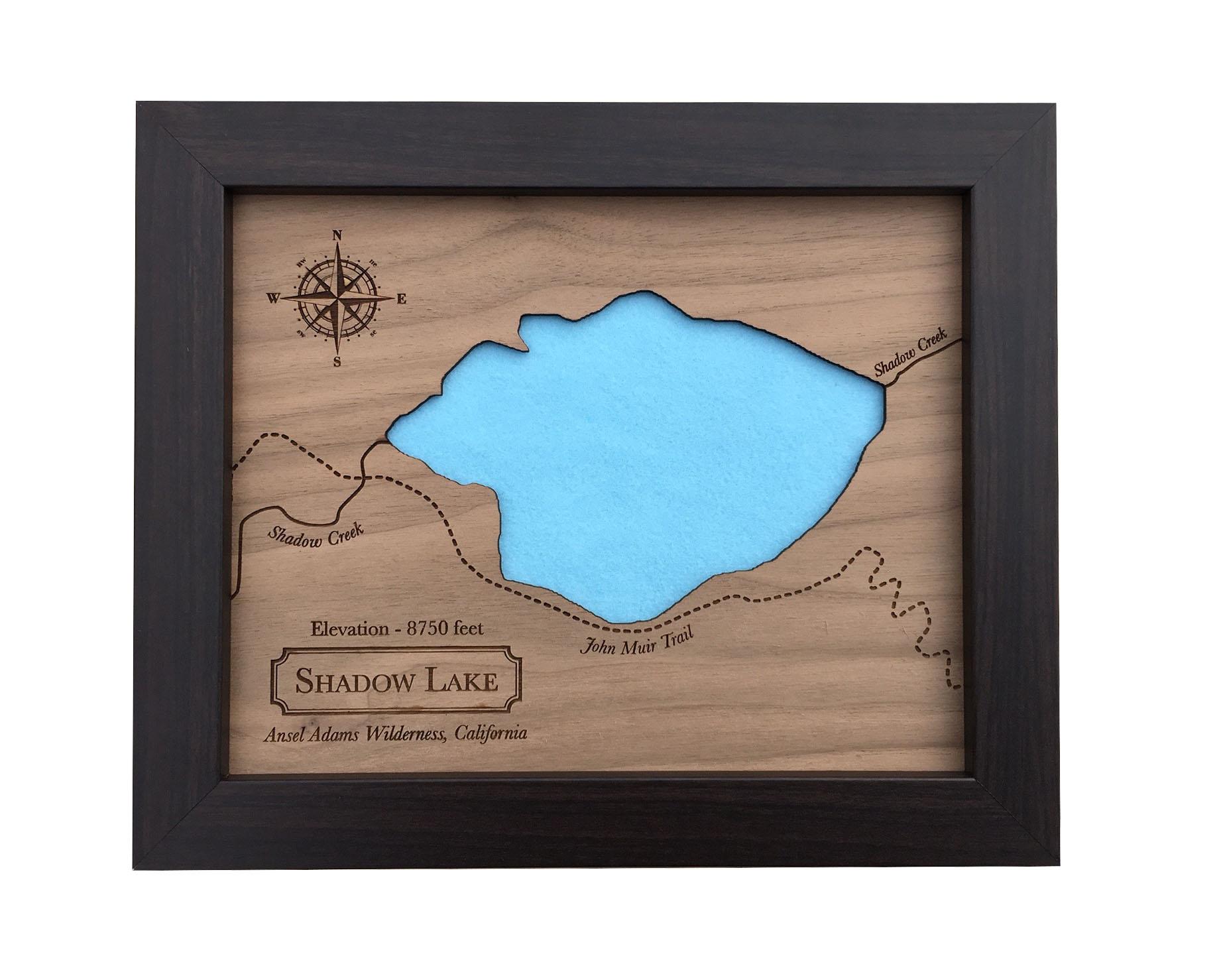 wood lake map - laser cut wood lake - lake home decor - wood anniversary