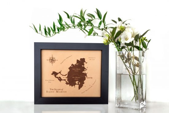 st martin leather map for 3rd anniversary leather gift