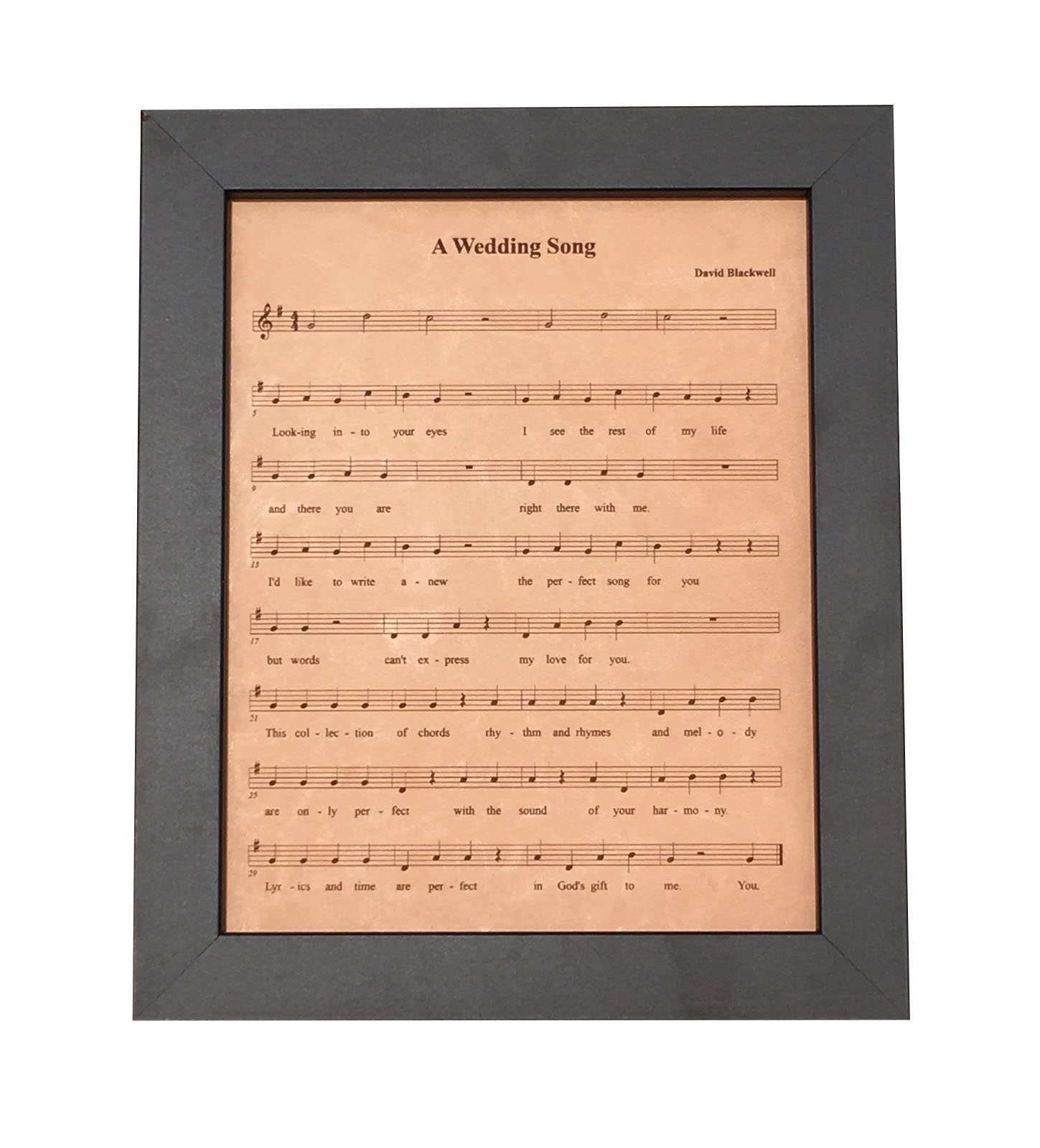 Leather Anniversary Gift Engraved Sheet Music First Dance