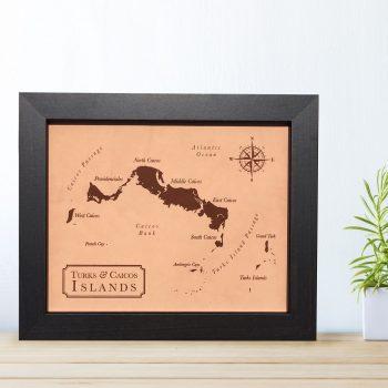 custom leather map 3rd anniversary
