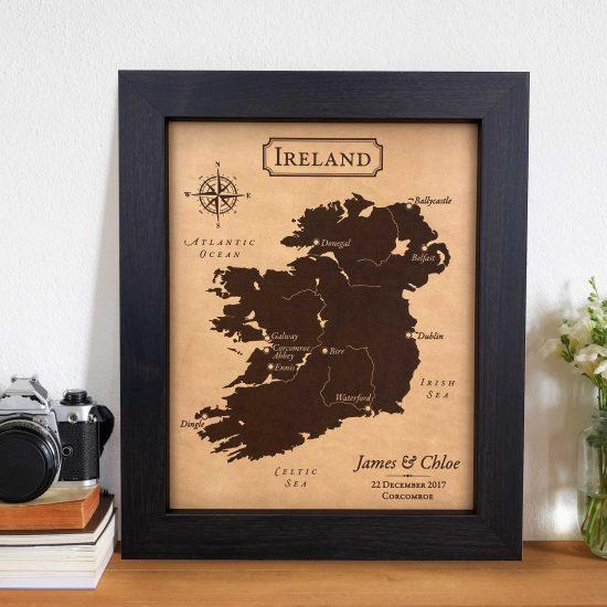Ireland Honeymoon map leather