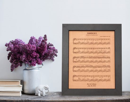 personalized sheet music on leather