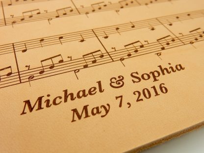 leather sheet music personalized 3rd anniversary gift