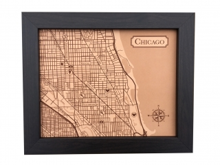Chicago city map engraved leather