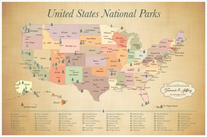 Personalized USA National Parks Map