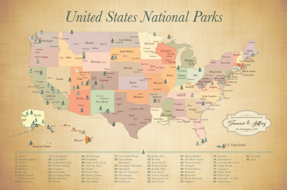 Updated 2021 US National Parks Map