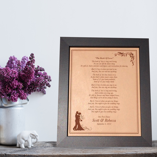 1b041b56e908 First Dance Lyrics – Laser Engraved on Leather – 3rd Anniversary gift idea