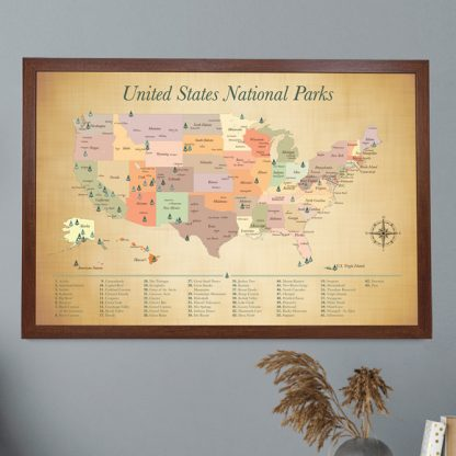 national parks map with list