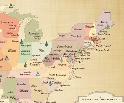 detailed US National Parks map