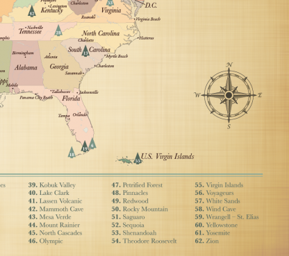 adventure awaits national parks map