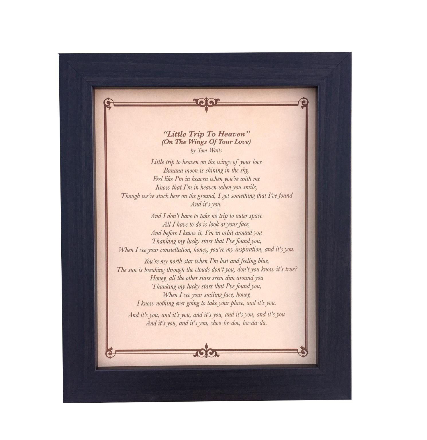 Song lyrics engraved on leather