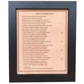 Advice to a Young Lawyer - Joseph Story engraved leather