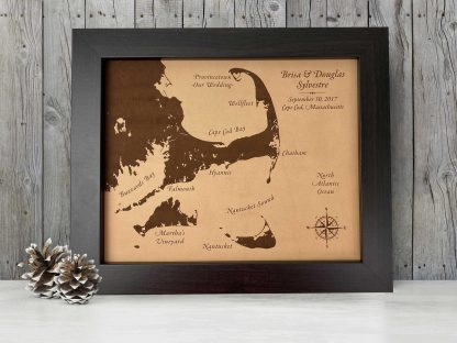 Map of Cape Cod on leather