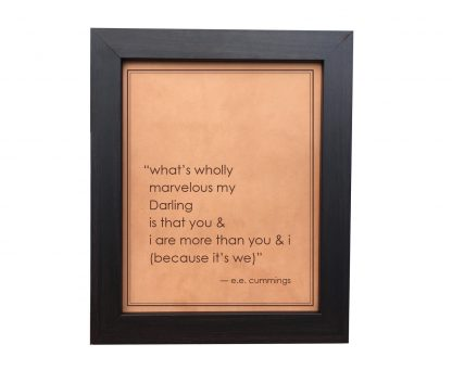 ee cummings quote on leather sign