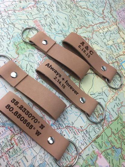 gps coordinates leather key fob
