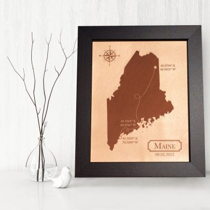 leather keepsake map, maine map
