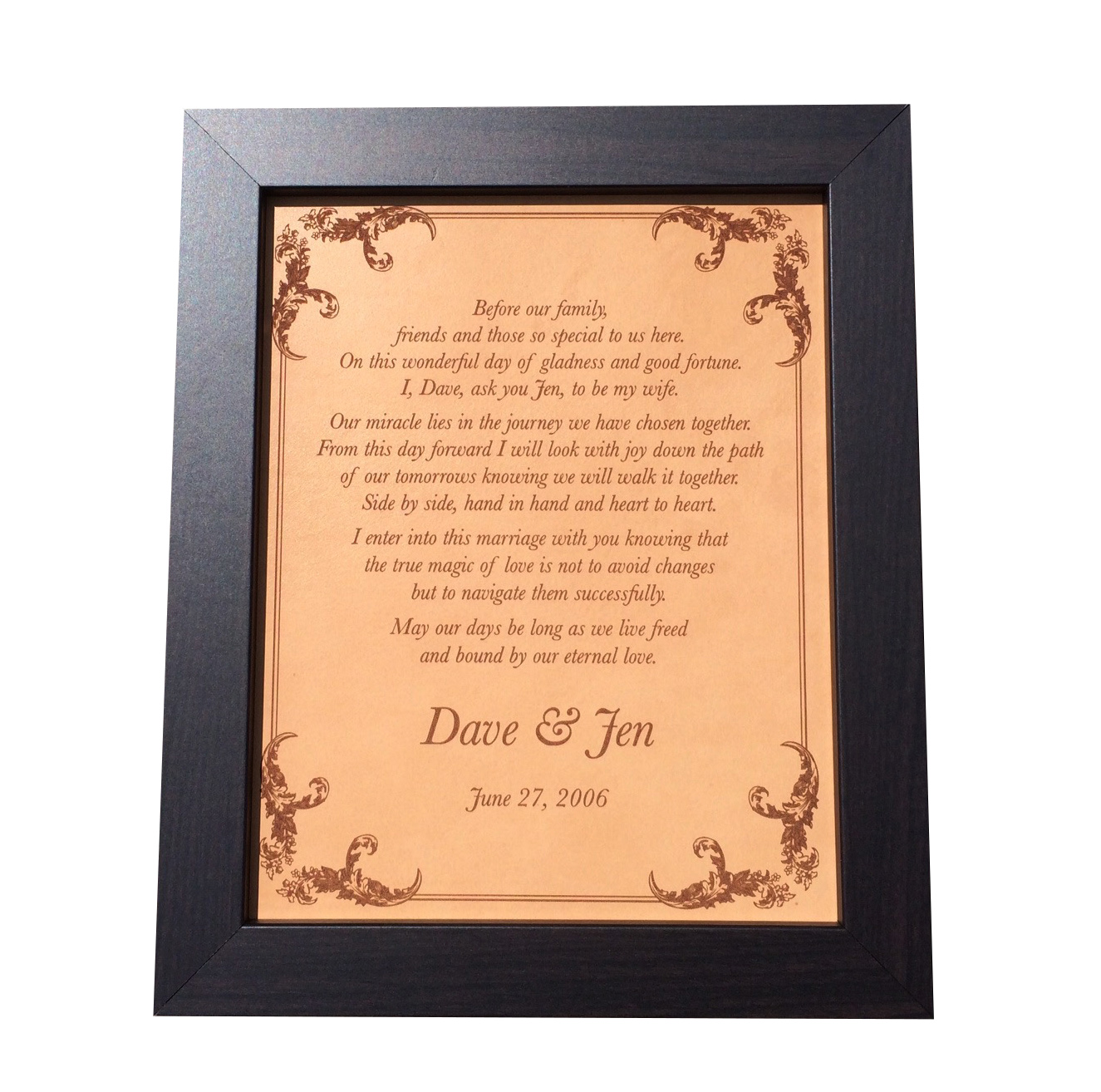 Wedding vows engraved on leather, leather anniversary gift, 3rd ...