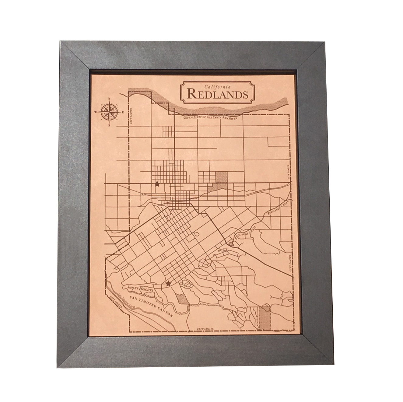 Redlands California Historic Map Engraved on Leather