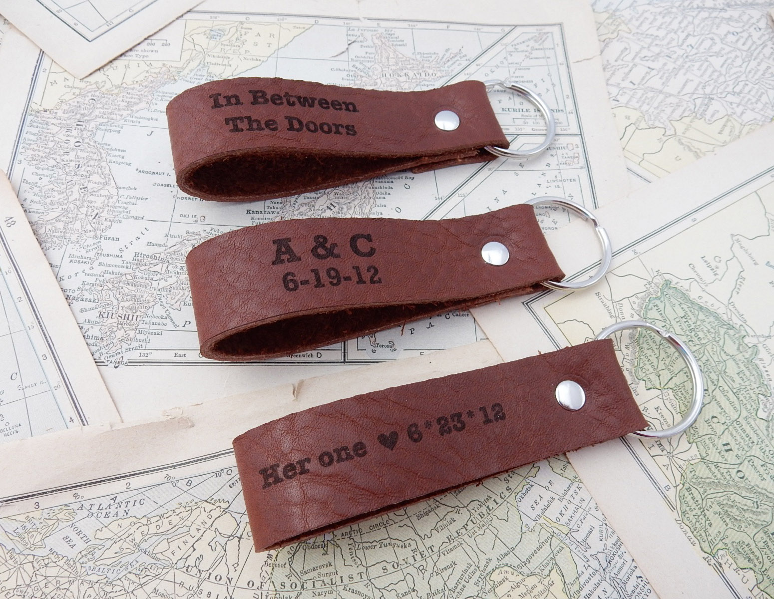 13 Year Wedding Anniversary Gifts For Him: Leather Key Chain Personalized Gift For Him, Leather Key