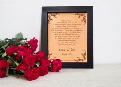 romantic wedding vows engraved on leather for leather anniversary
